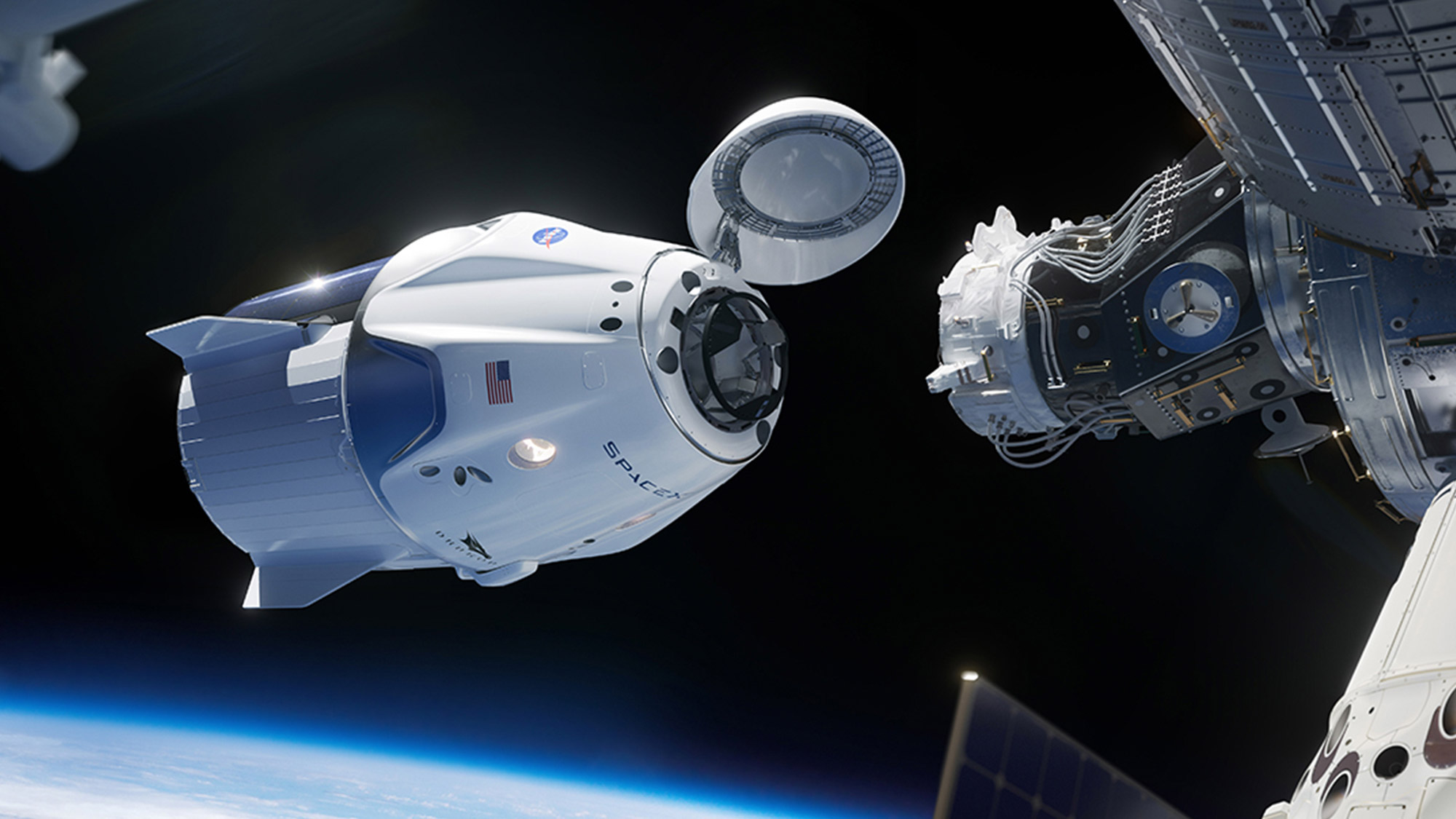 Crew Dragon docking with the ISS, SpaceX.