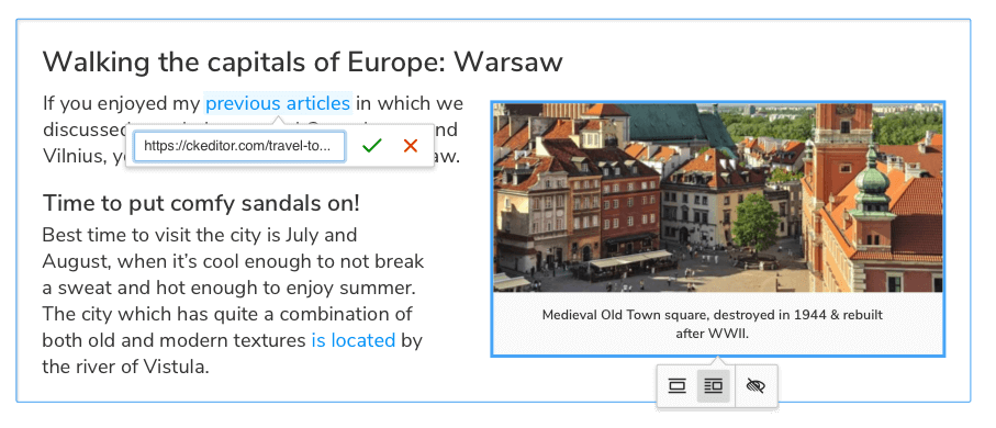 Perfect UI and UX in CKEditor 5 WYSIWYG editor.