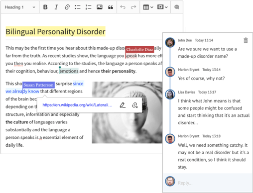 Collaborative editing in WYSIWYG editor CKEditor 5.