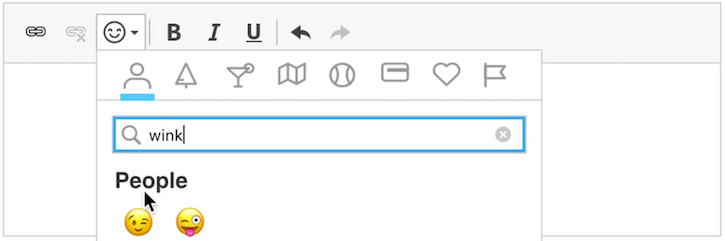 CKEditor 4 WYSIWYG HTML editor with the new emoji dropdown.