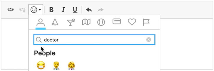 CKEditor 4 WYSIWYG HTML editor with emoji keyword search support.