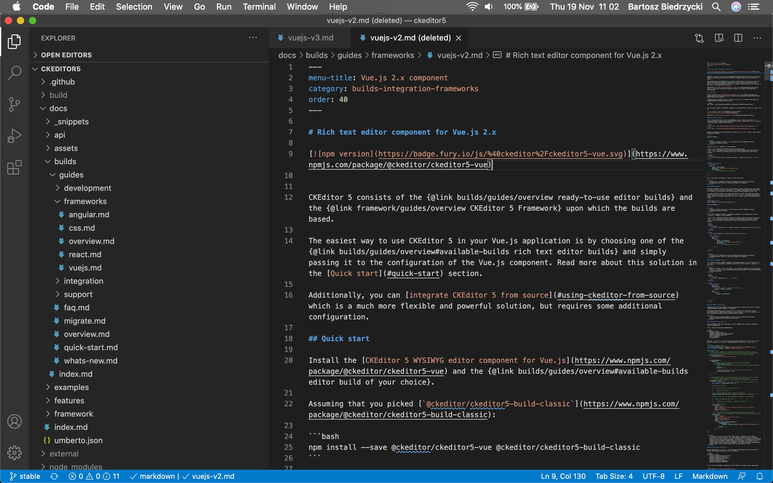 Markdown used to write documentation in the Visual Studio Code editor.