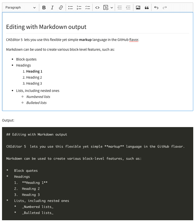 Markdown output preview in a CKEditor 5 WYSIWYG editor demo.