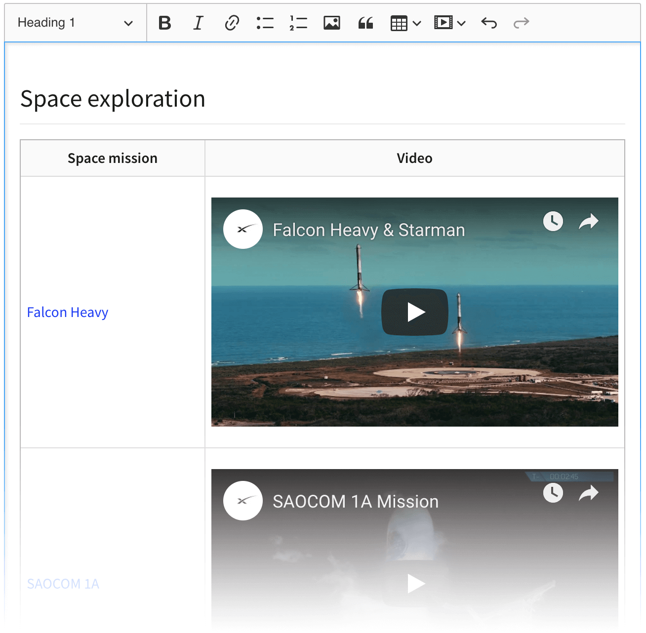 A video inserted into a table cell in CKEditor 5 WYSIWYG editor.