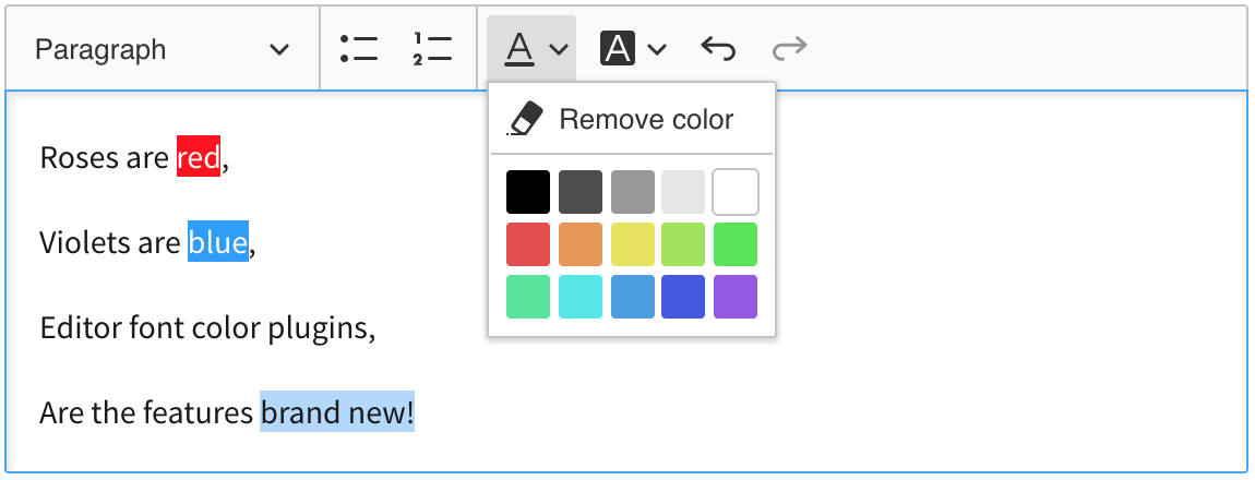 Font and background color feature in CKEditor 5 WYSIWYG editor.