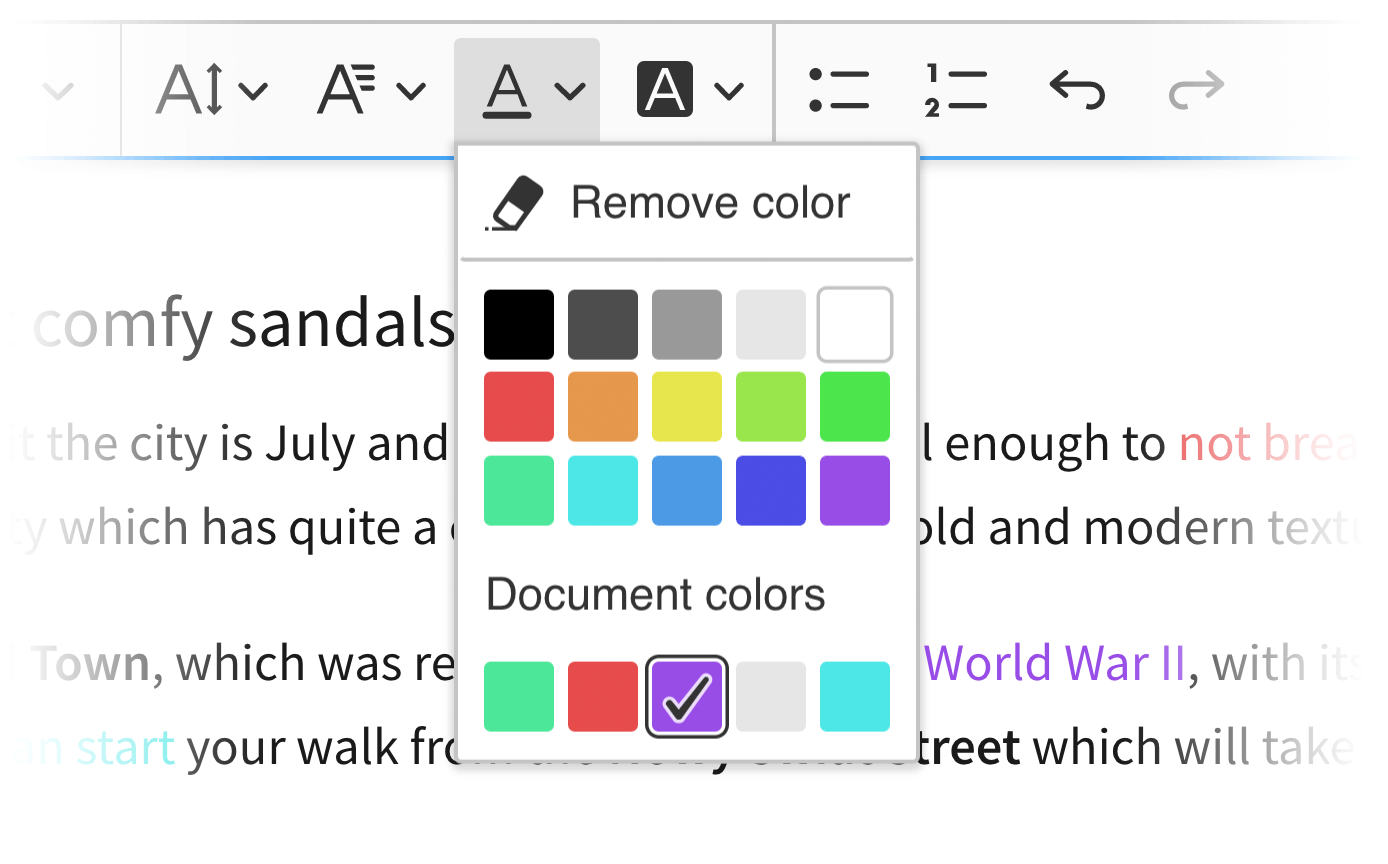 The document colors feature in CKEditor 5 WYSIWYG editor.