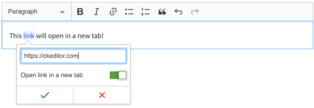 Link decorators feature allows to use link attributes in CKEditor 5 WYSIWYG editor.