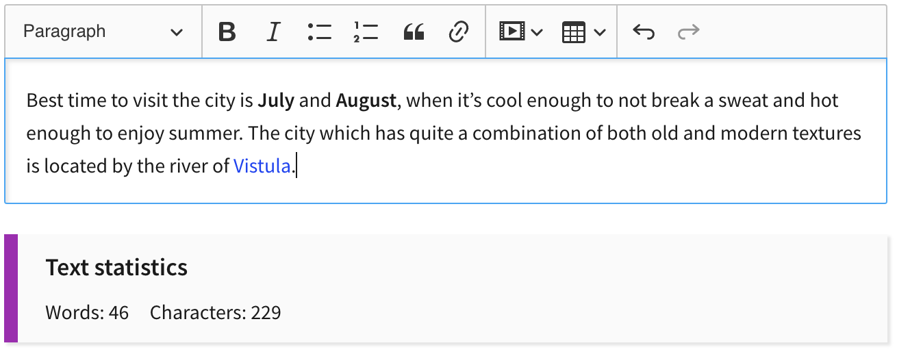Word count and character count feature in CKEditor 5 WYSIWYG editor.