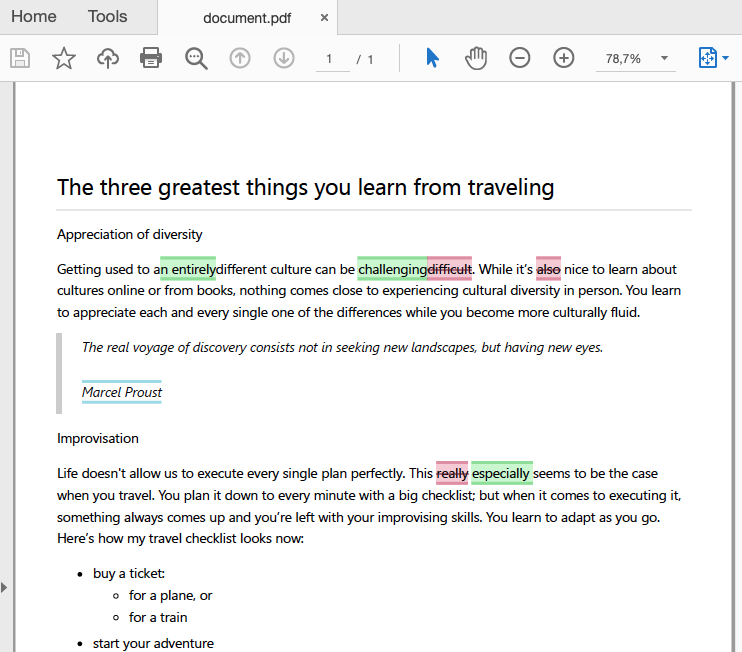 A CKEditor 5 generated PDF file with track changes.