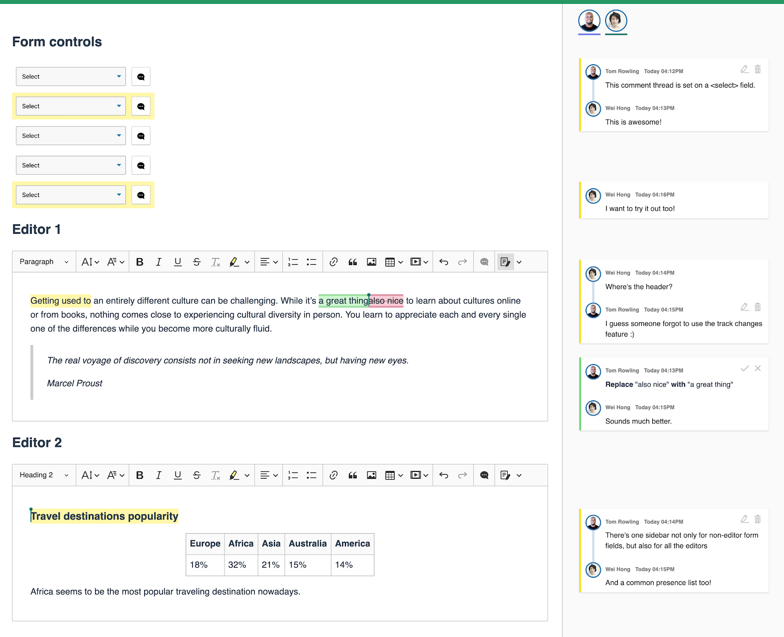 Comments for multiple WYSIWYG editors and non-editor fields displayed in a common sidebar in CKEditor 5 collaborative editing