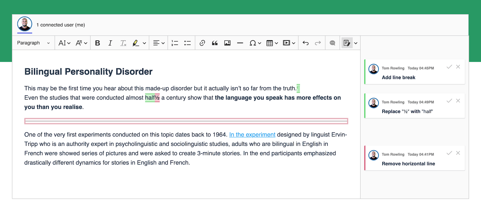 New features such as line break available in track changes mode in CKEditor 5 WYSIWYG editor.