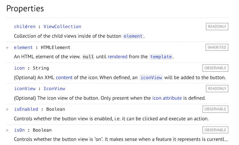 Screenshot from CKEditor 5 API docs of a list of properties of an object where some are marked as observable