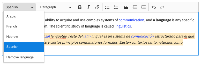 Setting language for the selected content part with a toolbar dropdown.