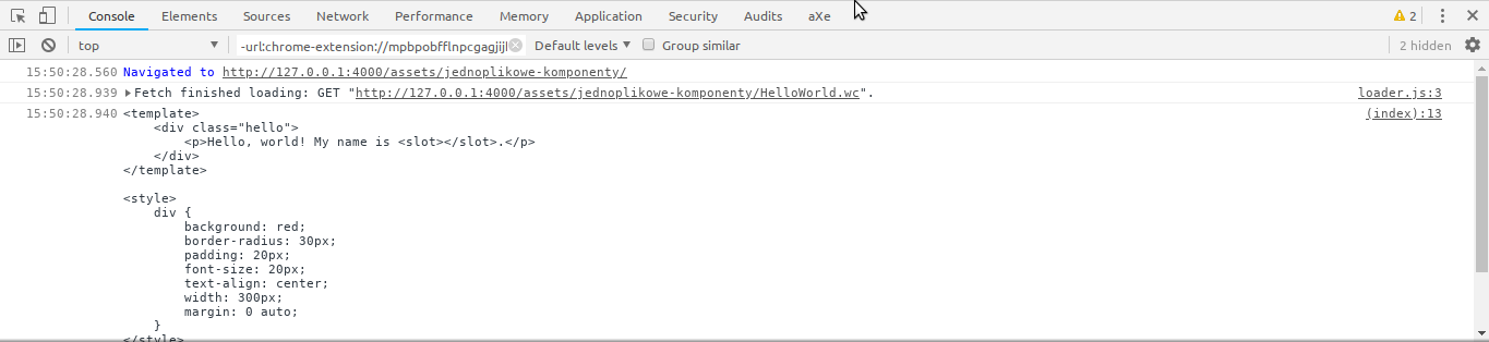 Chrome's console showing that fetch of the HelloWorld.wc file is completed and displaying its contents as plain text.