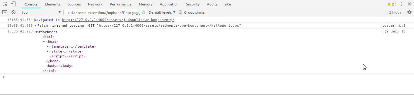 Chrome's console showing contents of the HelloWorld.wc file parsed as DOM.