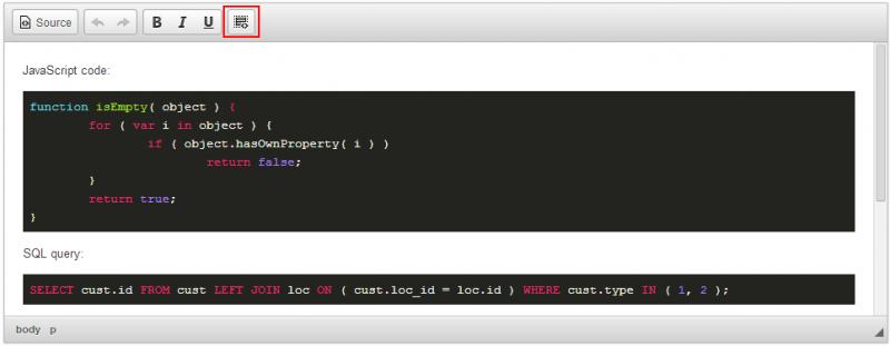 Code Snippet   CKEditor com