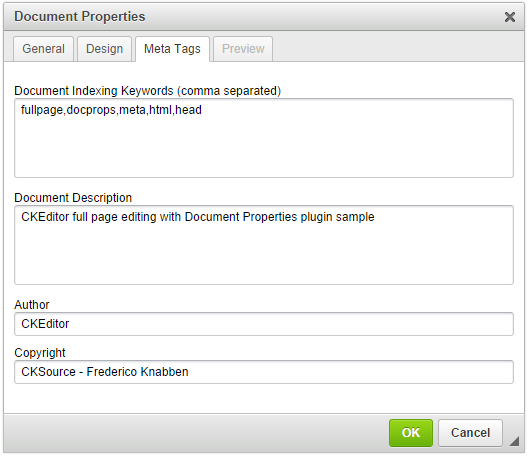 Document Properties | CKEditor com