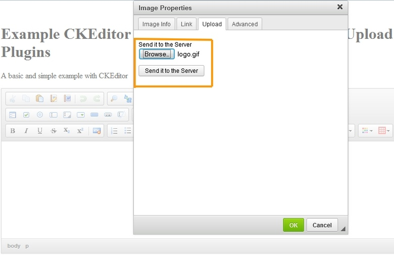 Upload and Insert Image in CKEditor using PHP
