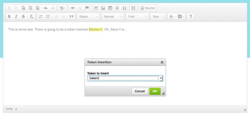 Token Insertion   CKEditor com