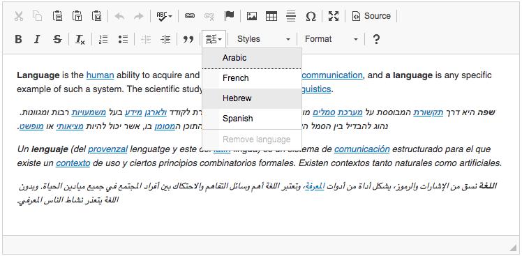 A custom CKEditor build with the Language plugin