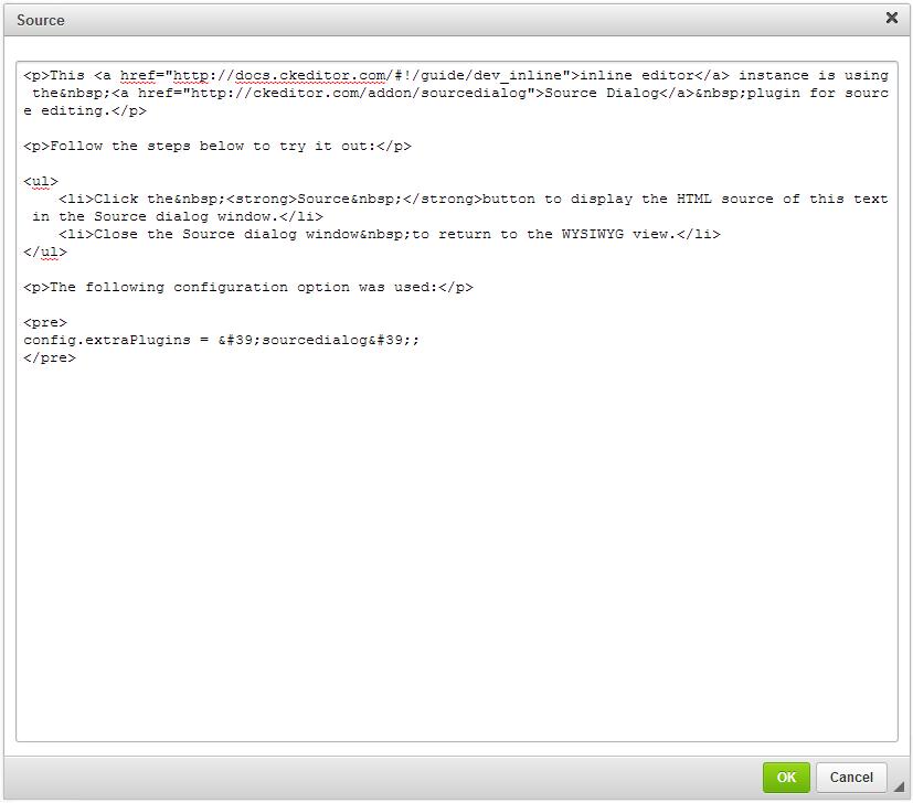 Source Code Editing - CKEditor 4 Documentation