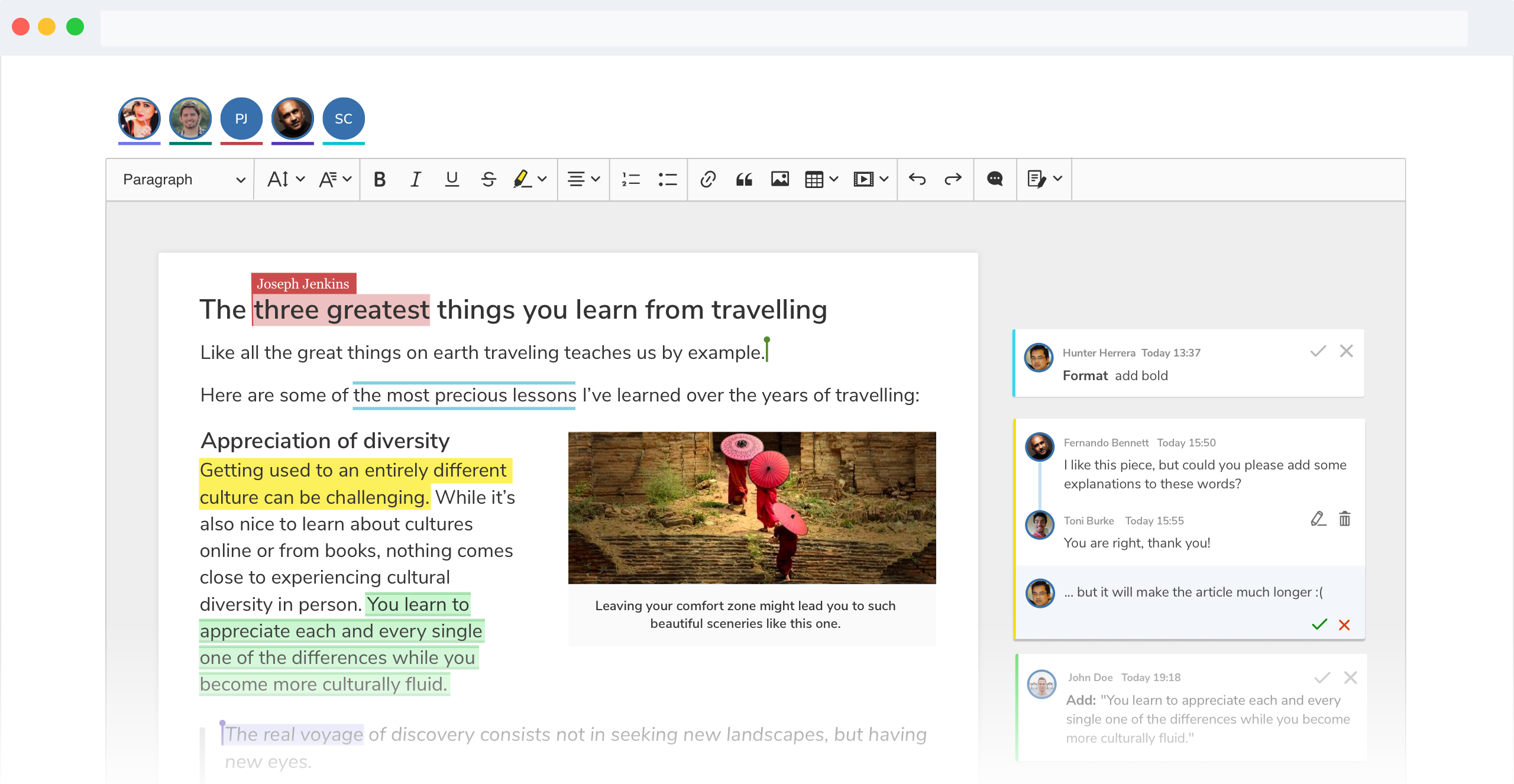 Collaboration features in CKEditor 5.