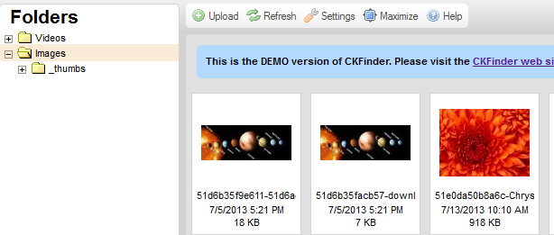 Ckfinder thumbnail not displaying in Chrome, Safari and IE8
